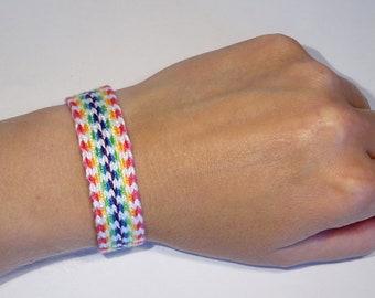 Woven rainbow bracelet - tablet weaving handwoven ethnic card weaving boho gypsy hippie bohemian bohostyle