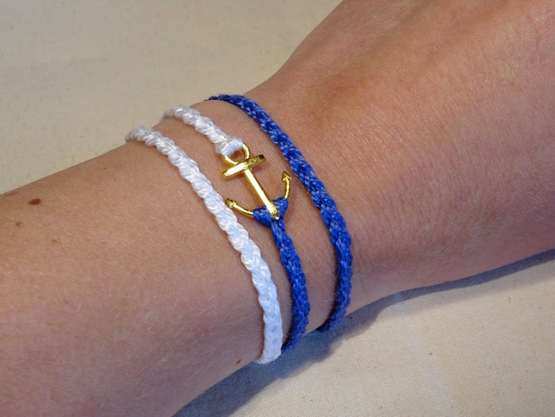 Anchor bracelet or anklet with blue and white nautical theme image 0