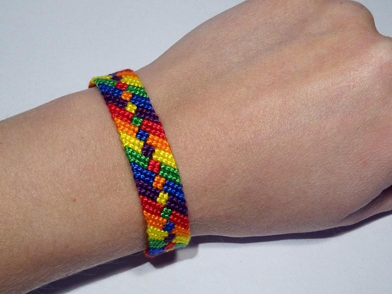Gay Pride bracelet  rainbow flag love friendship handwoven image 0