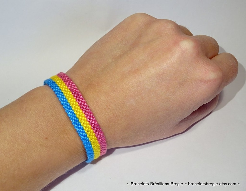 Pansexual Pride Flag bracelet love friendship handwoven giftidea support respect awareness macrame pansexuality LGBTQ
