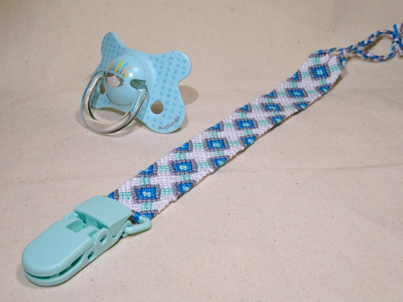 Pacifier clip  macrame cotton handwoven baby gifts mint image 0
