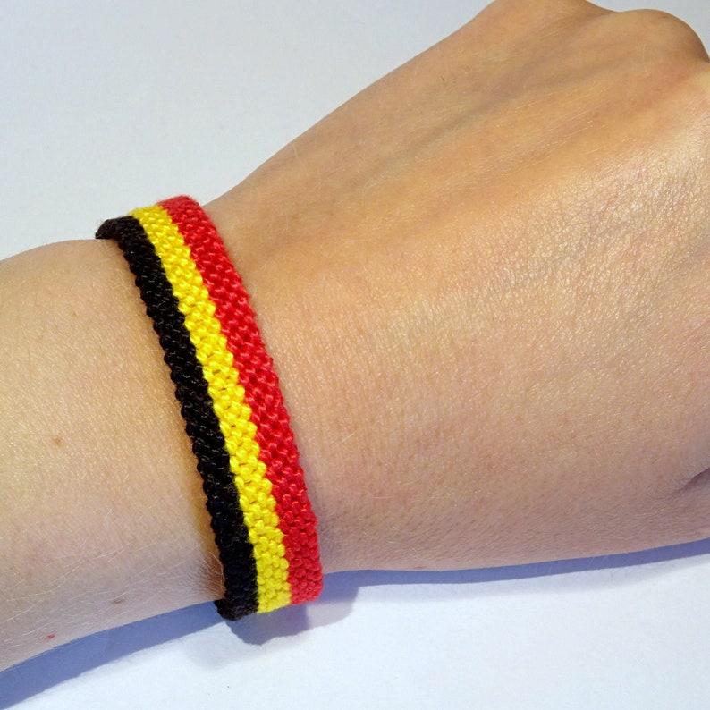 Belgian flag bracelet  Belgique Belgium handwoven giftidea image 0