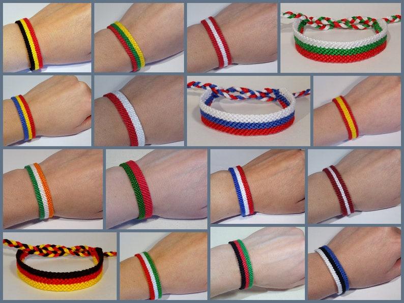 Country flag bracelet  France Germany Poland Spain Estonia Afghanistan