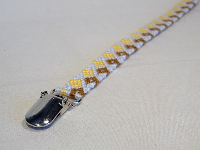 Pacifier clip  macrame cotton handwoven baby gifts blue image 0