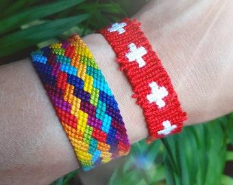 Swiss flag bracelet - Schweiz Svizzera Switzerland handwoven giftidea country macrame hippie boho bohemian beach