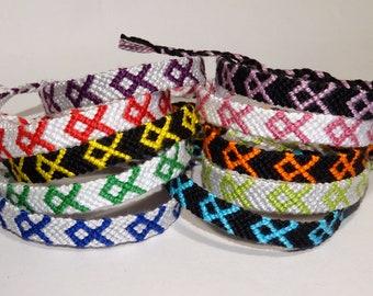 Awareness Ribbon bracelet - handmade friendship macramé gift surviver statement respect support cotton cancer disease disorder