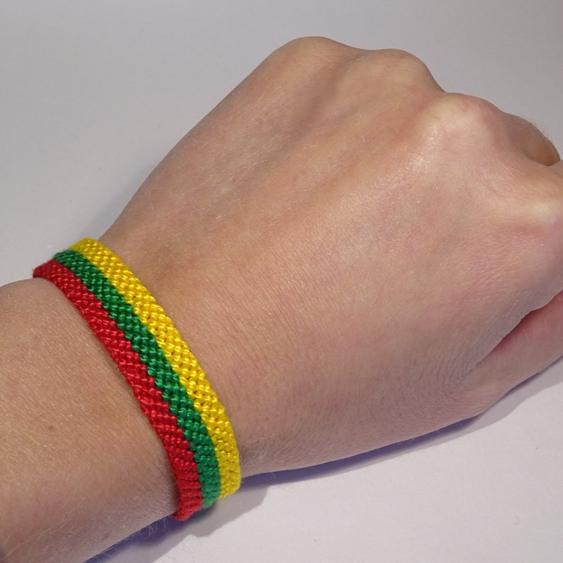 Lithuanian flag bracelet  Lietuva Lithuania handwoven image 0