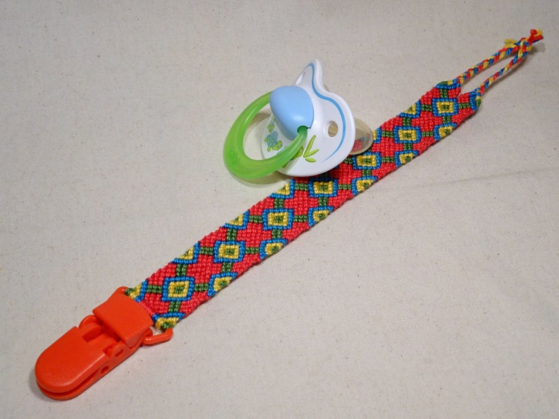 Pacifier clip  macrame cotton handwoven baby gifts red image 0