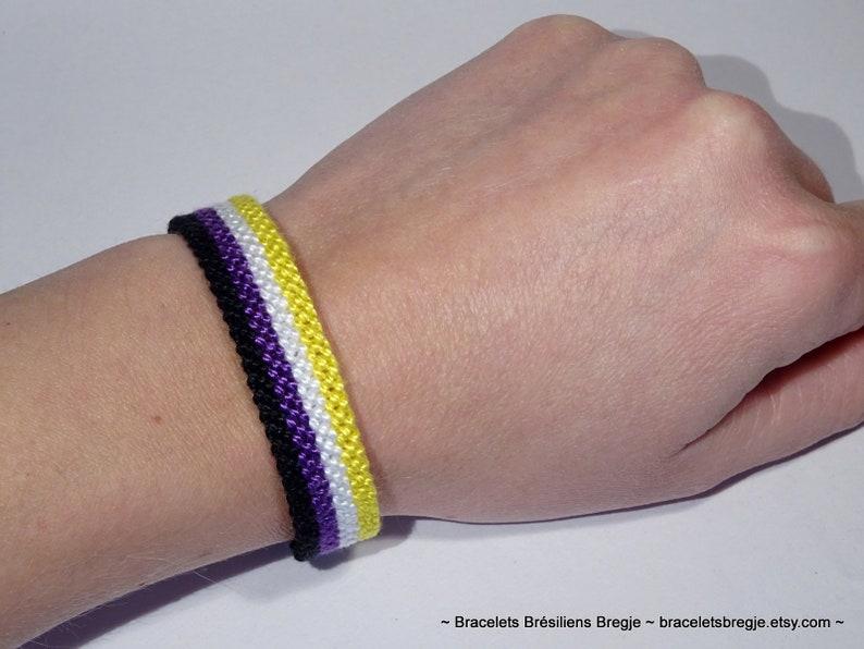 Non-binary Pride Flag bracelet  friendship handwoven love image 0