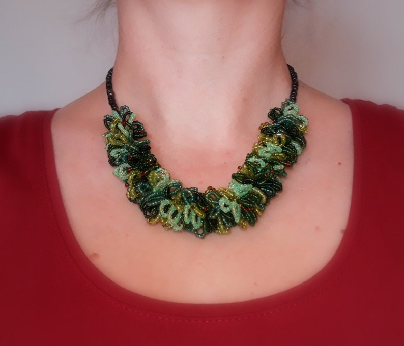 Beaded necklace  Bulgarian style beads green handmade image 0