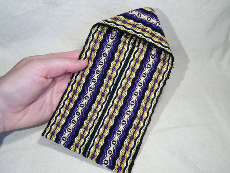 Handwoven pouch with clip bag cover hippie bohemian loom image 0