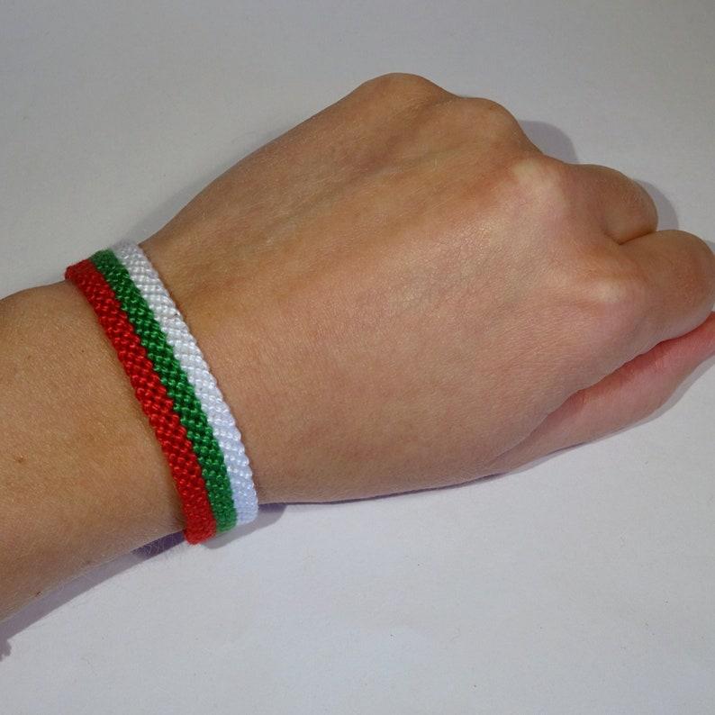 Bulgarian flag bracelet  Bulgaria handwoven giftidea country image 0
