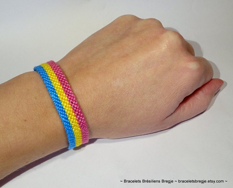 Pansexual Pride Flag bracelet  love friendship handwoven image 0