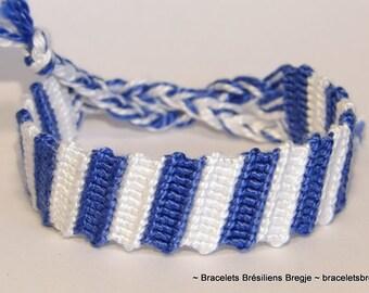 Friendship bracelet - marine nautical sailor hippie ibiza macrame bresilien  beachwear gypsy blue white