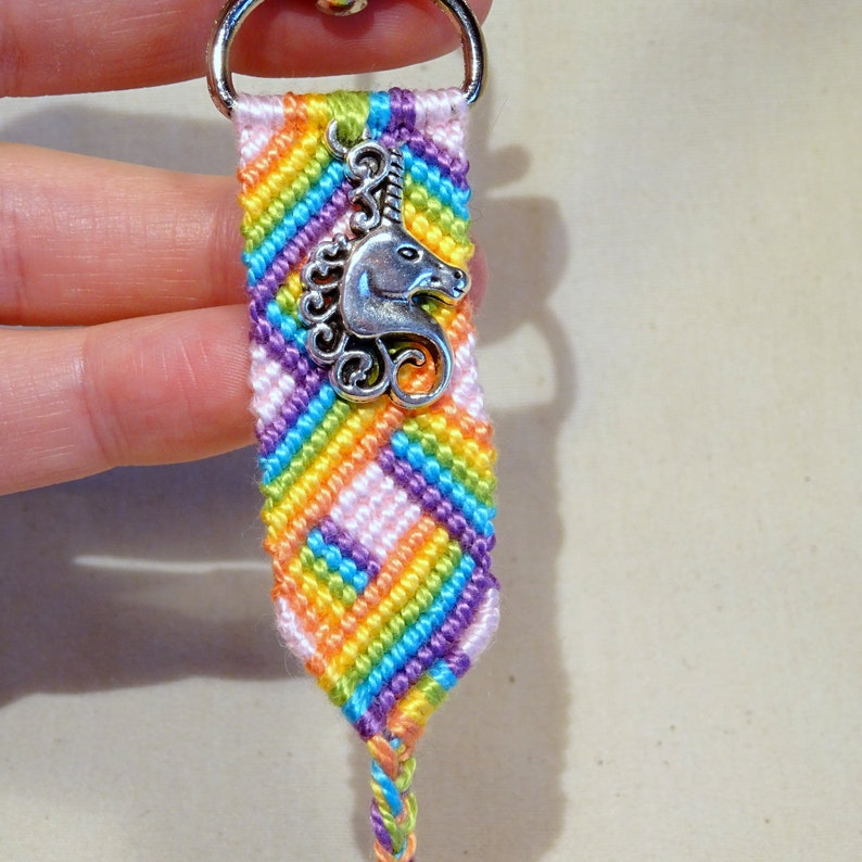 Macrame key ring with unicorn pendant image 0