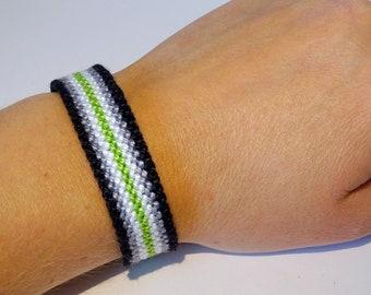 Agender Pride Flag bracelet - love friendship handwoven giftidea support respect awareness macrame LGBT