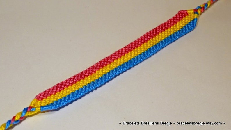 love friendship handwoven giftidea support respect awareness macrame pansexuality LGBTQ Pansexual Pride Flag bracelet