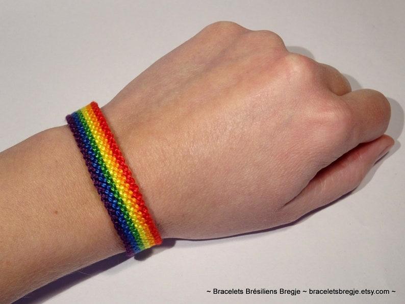 Gay Pride Flag bracelet  love friendship handwoven giftidea 1.2 Centimeters