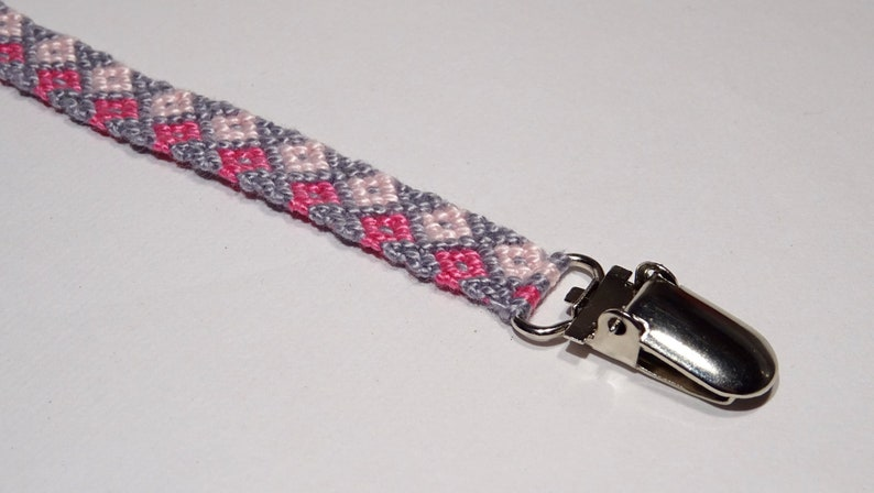 Pacifier clip  macrame cotton handwoven baby gifts grey image 0
