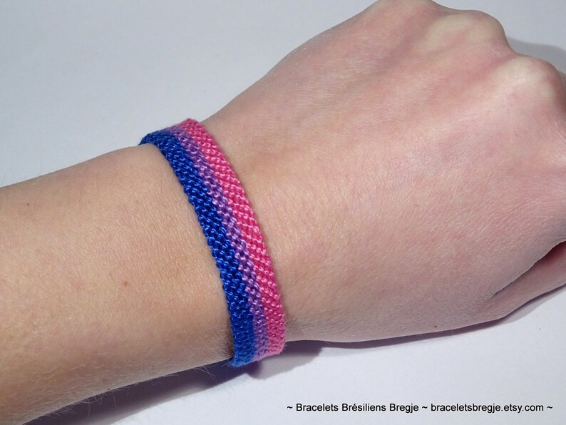 Bisexual Pride Flag bracelet  love friendship handwoven 1.2 Centimeters