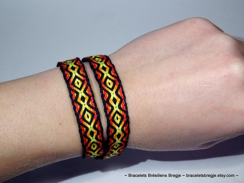 Handwoven bracelet made with tablet weaving technique very image 0