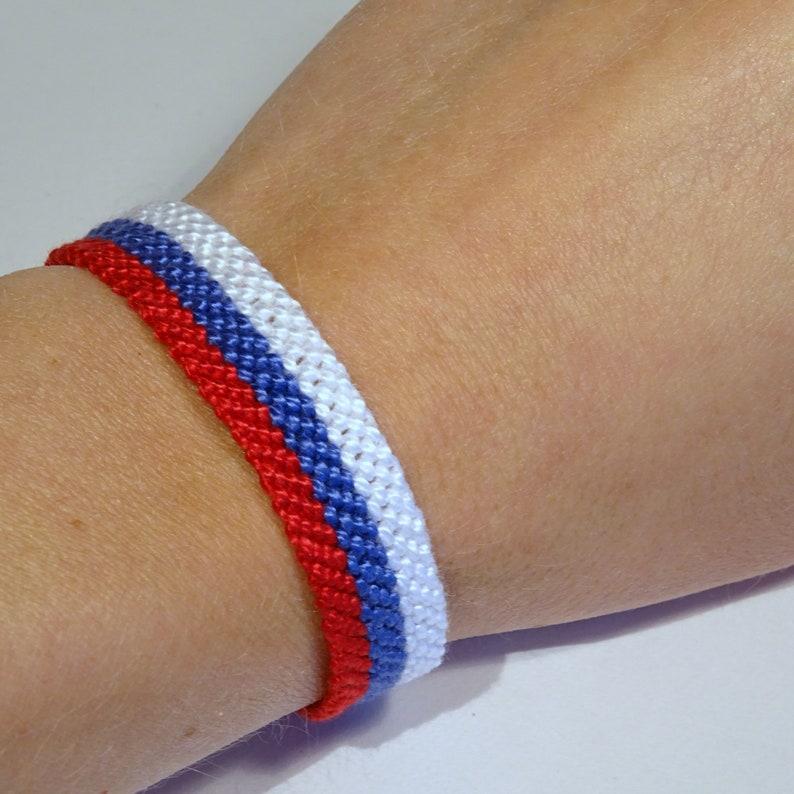 Russian flag bracelet  Russia Rossia handwoven giftidea image 0