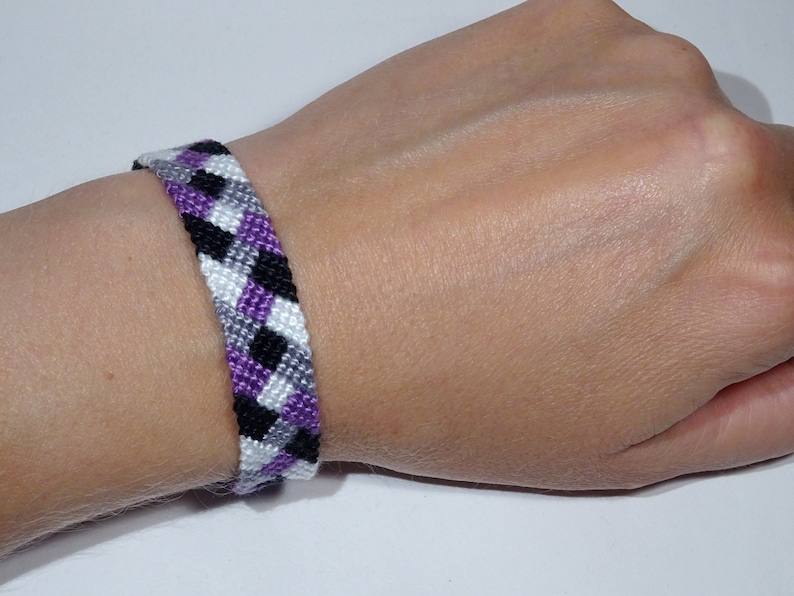 Asexual Pride bracelet  love friendship handwoven support image 0