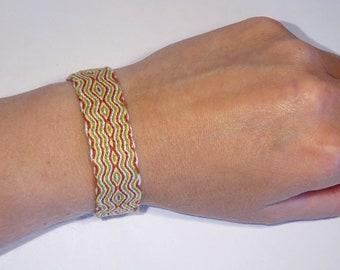 Linen woven bracelet - tablet weaving hand-woven ethnic card weaving kaartweven hippie tribal viking inkle cotton