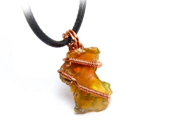Authentic Ethiopian Opal Crystal Healing Necklace, Wire Wrap