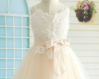 5db640c5a Wedding Champagne Flower Girl Dress, Lace Applicated Tulle Flower Girl Dress  Tea Length