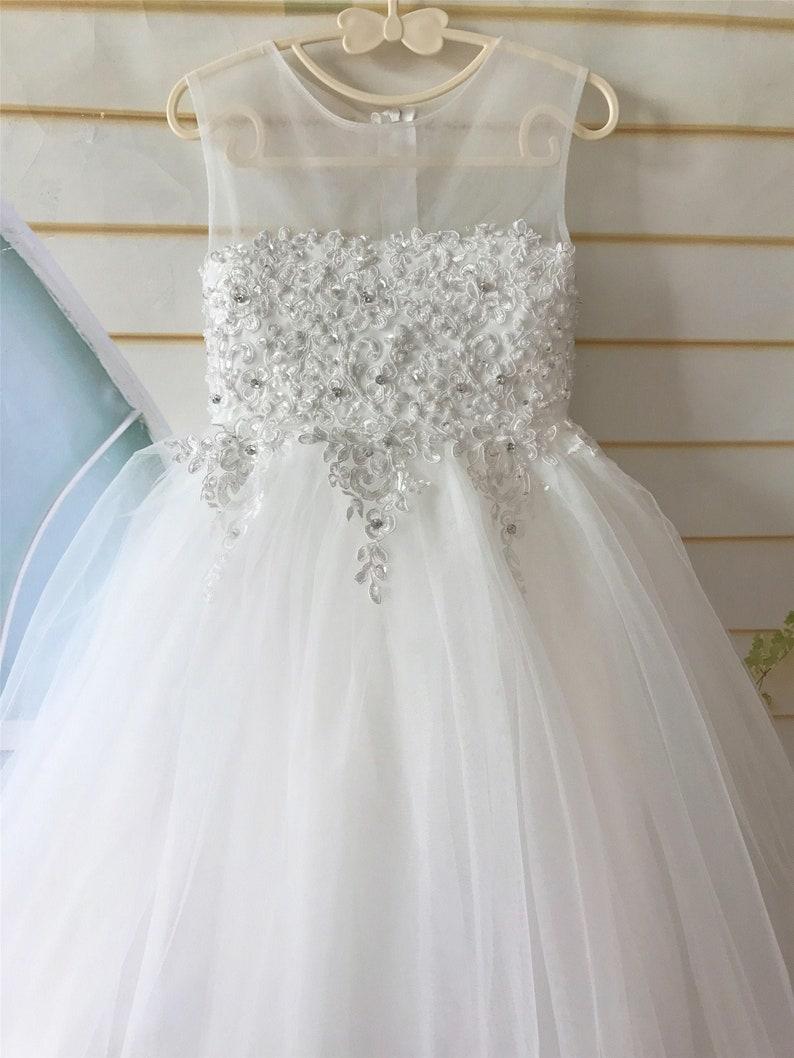Light Ivory Flower Girl Dress Wedding Flower Girl Dress Tulle Beaded Flower Girl Dress Tea Length