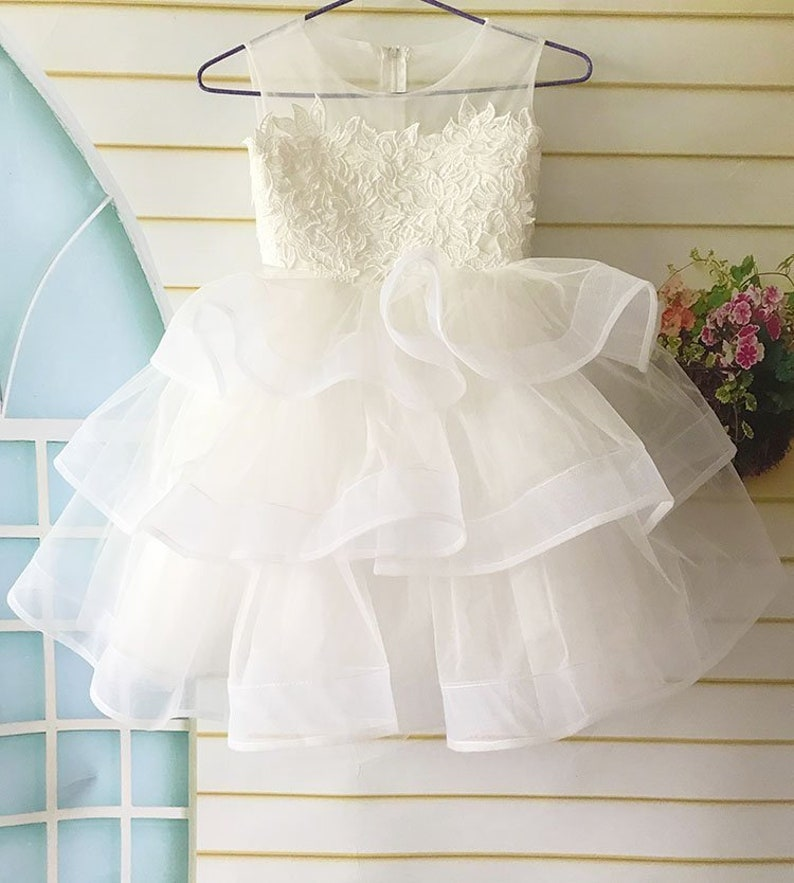 ee0c2c12b71 Lace Flower Girl Dress Tulle Layered Flower Girl Dress First