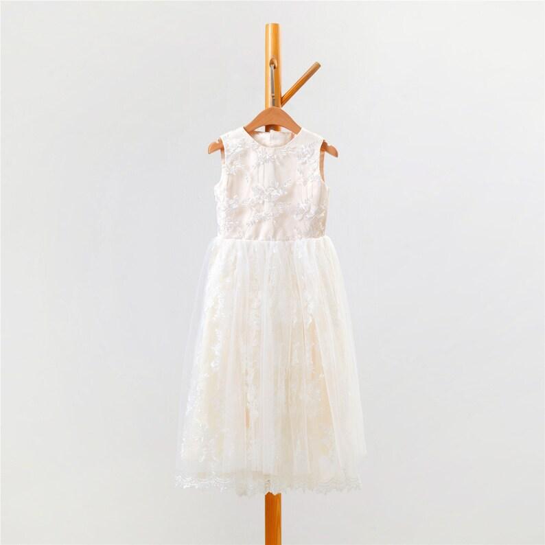 563484acb0d Champagne Lace Flower Girl Dress Tulle Flower Girl Dress Tea