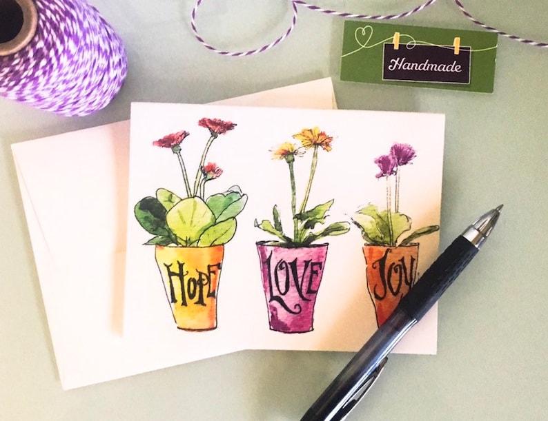 Notes set: Hope Love Joy blank cards original watercolor of image 0