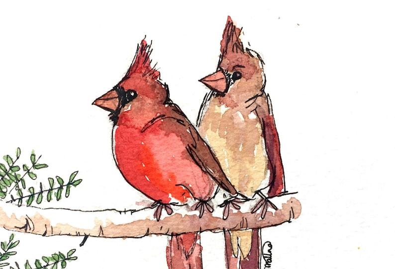 cardinal watercolor print bird nature art northern red image 0