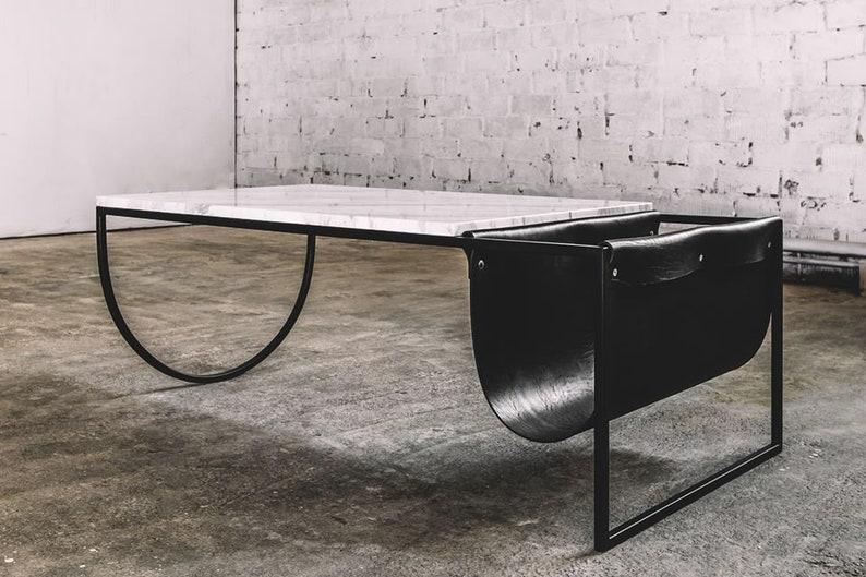 Table console en acier noir magazine table table de marbre etsy