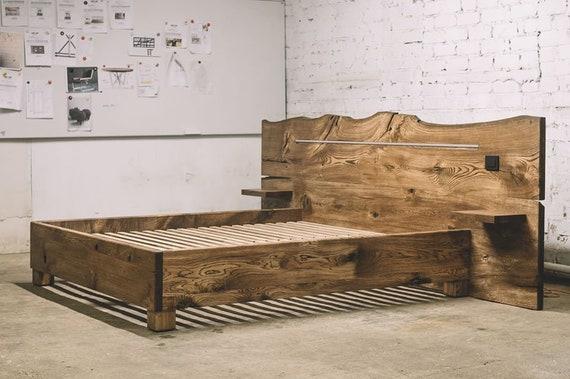Industrial wooden bed / Modern oak bed / Industrial furniture / Bedroom  furniture / Bedroom decor / Industrial wood working / Oak bed