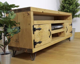 Handmade Rustic TV unit with shelf v2 ~ chunky solid wood design ~ made to order in the uk