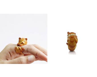 Cat Hugging Ring  Animal Jewelry  -Hugging Collection- Handcraft Jewelry