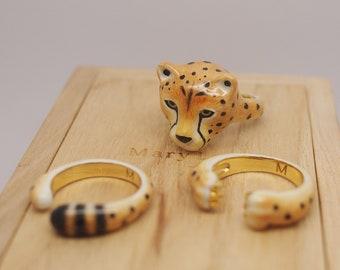 3-Piece Cheetah Rings  - Animal Jewelry  -Three pieces Ring Collection- Handmade Jewelry-Cheetah