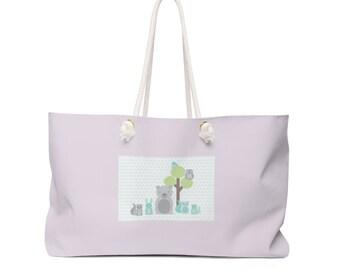 Cute Woodland Animal Weekender Bag Tote Bag Beach Bag