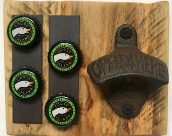 DIY Craft Kit - Small Wall Mounted Bottle Opener with Magnetic Cap Holder