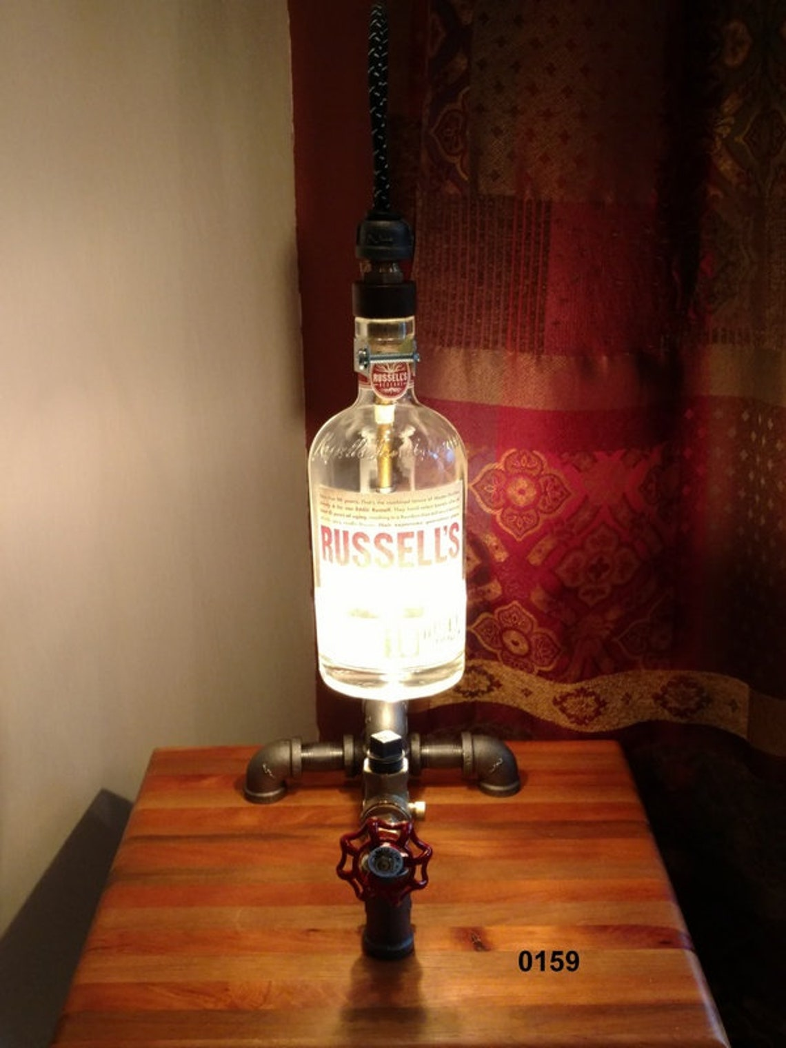 Russell's Bourbon Bottle Lamp, Industrial Pipe Lamp, Desk Lamp, Table Lamp, Accent Lamp, Bar Lamp, Bottle Lamp - Eclairage