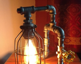 Industrial Pipe Lamp, Cage Lamp, Edison Lamp, Table Lamp, Desk Lamp