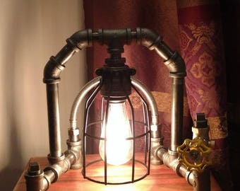 Industrial Pipe Lamp; Caged Lamp; Edison Lamp; Table Lamp; Desk Lamp; Accent Lamp