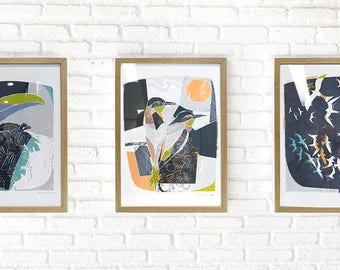 Set of Three Hand Printed Tropical Birds Giclee Print