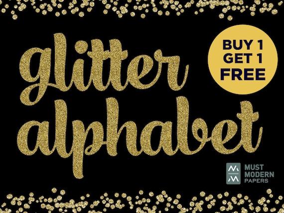 Buy 1 Get 1 FREE, Gold Glitter Alphabet, Gold Clipart, Gold Letter Clipart,  Handwritten Gold, Gold Type Clipart, Metallic Gold Alphabet