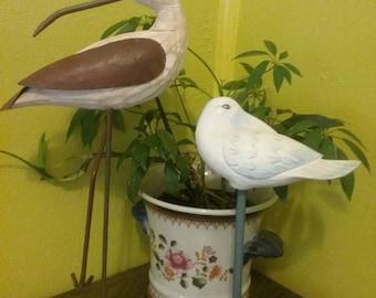 Vintage hand carved wood and metal shore birds, Vintage wooden shorebirds, Outer Banks NC, Nautical home decor, bird home decor