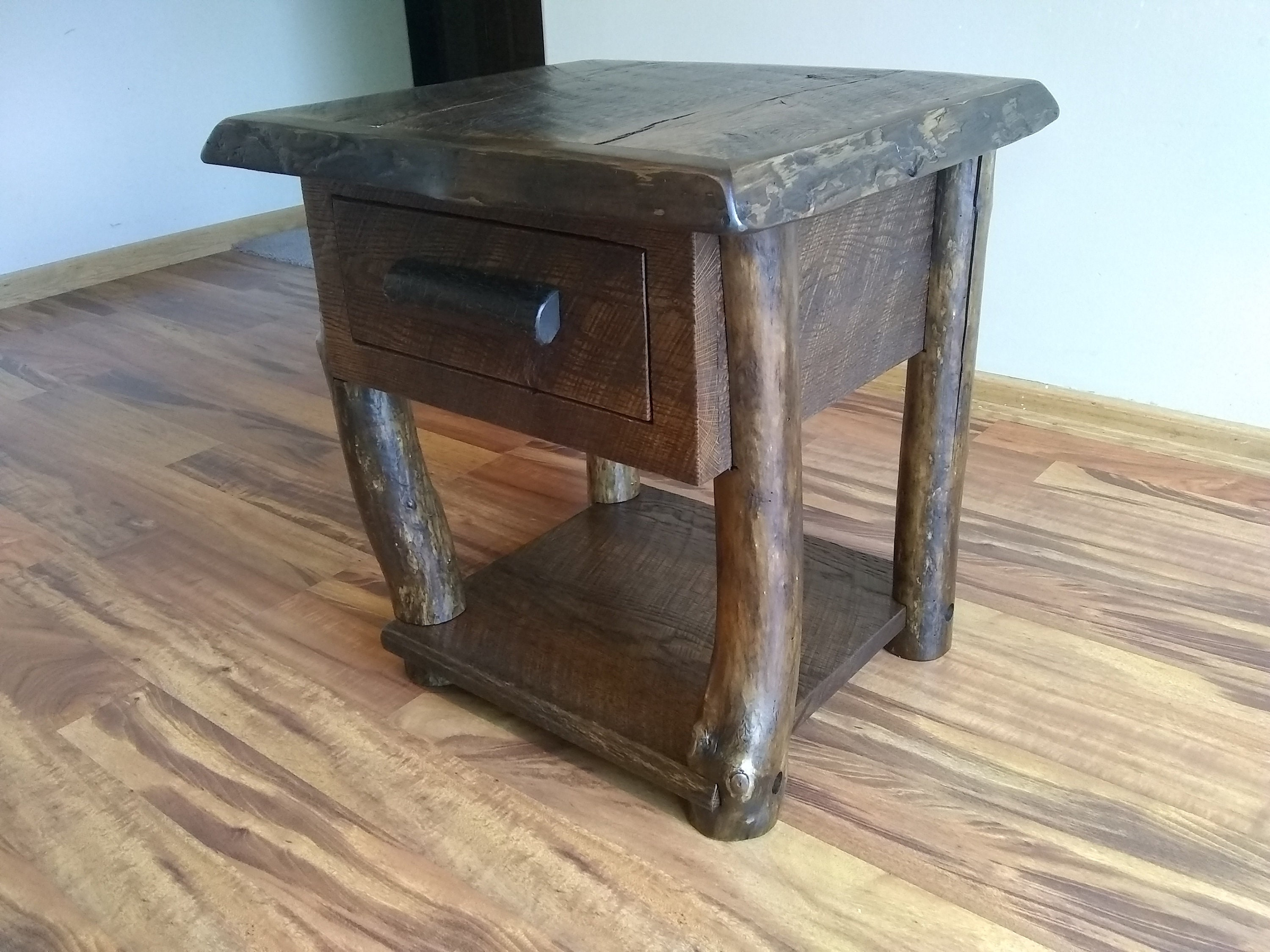 Live Edge End Table Rustic Night Stand End Table Wood Table Small Table End Table With Drawer Night Stand With Drawer Circle Sawn Wood