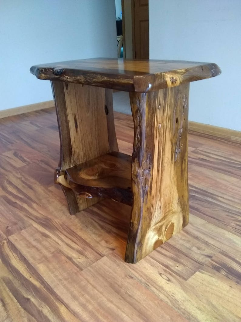 Bon Live Edge End Table,Rustic End Table, Rustic Night Stand, End Table, Wood  Table, Small Table